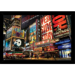 Times Square Theater District Print (36-inch x 24-inch) with Traditional Black Frame