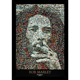 Bob Marley Mosaic I Print (24-inch x 36-inch) with Traditional Black Frame