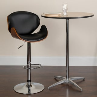 Adjustable Height Bar Stool with Curved Vinyl Seat and Back