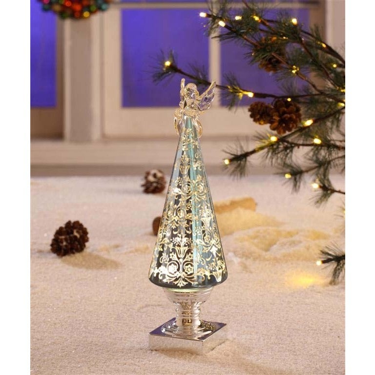 Legion Silver Holiday Decor with Angel Topper and LED Lig...