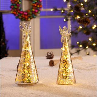 Legion Silver LED Holiday Decor with Angel Topper (Set of 2)