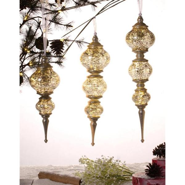 Set of Three Gold Assorted Ornaments. Opens flyout.