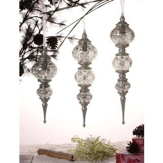 Silver Assorted Christmas Ornaments (Set of 3)