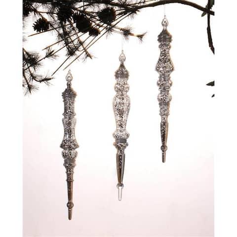 Silver Drop Ornaments (Set of 3)