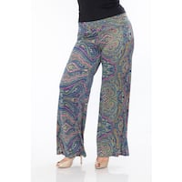 White Mark Women's Plus Size Paisley Palazzo Pants