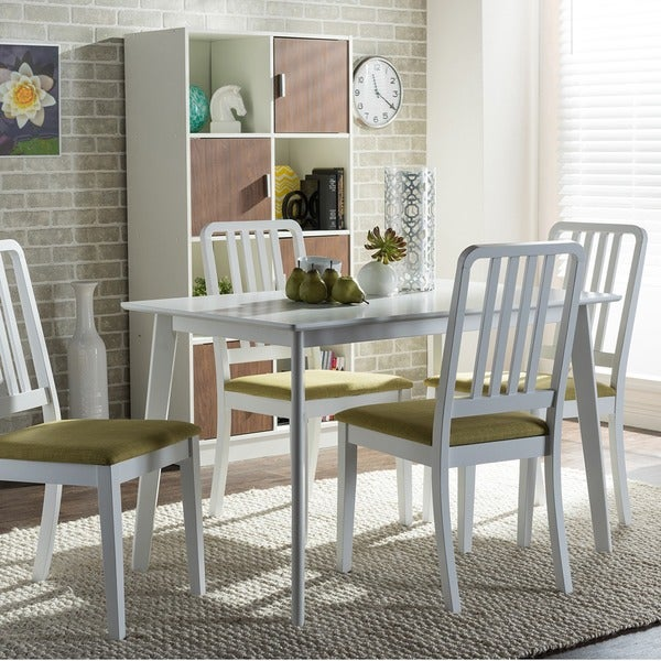 White Wood Dining Set: Shop Baxton Studio Jasmine 5-piece Mid-century White Wood