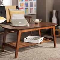 Carson Carrington Karkkila Mid-Century Modern Scandinavian Style Dark Walnut Coffee Table