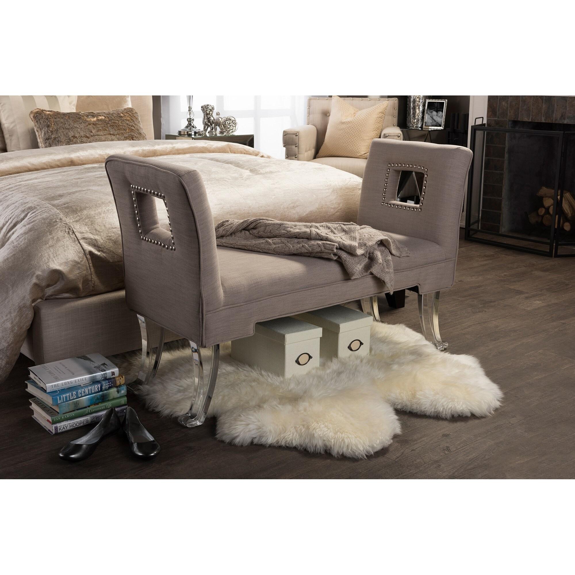 Baxton Studio Bessie Contemporary Beige Linen Upholstered...