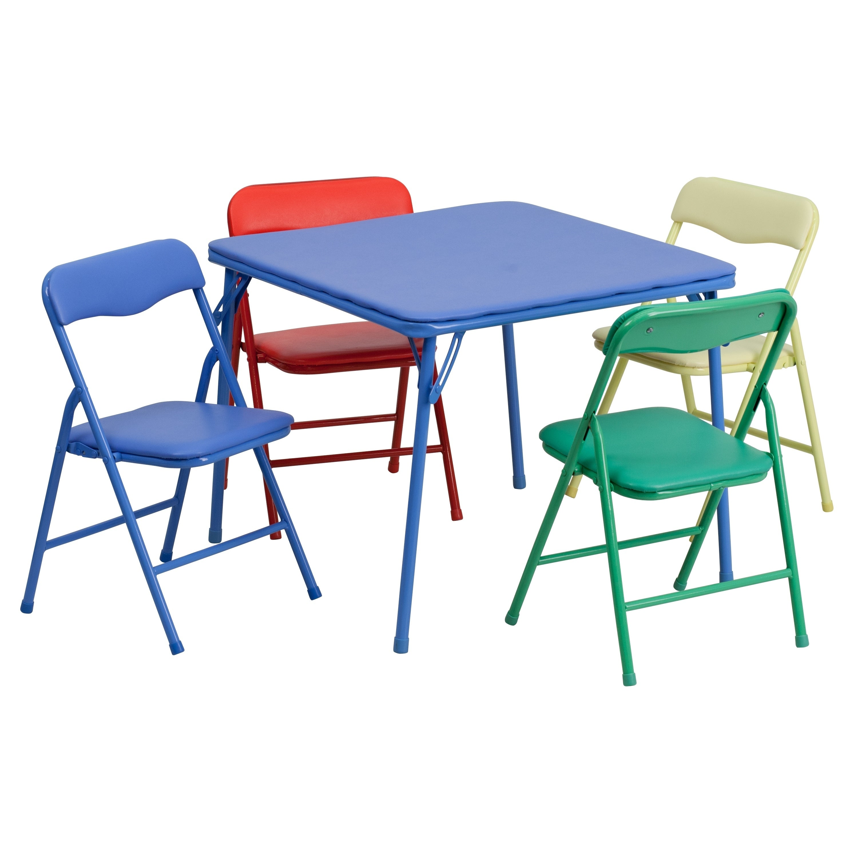 FLASH Furniture Kids Colorful 5 Piece Folding Table and C...