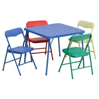 Kids Colorful 5 Piece Folding Table and Chair Set|https://ak1.ostkcdn.com/images/products/10648649/P17715489.jpg?impolicy=medium