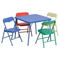 Kids Colorful 5 Piece Folding Table and Chair Set - Multi
