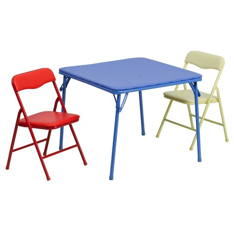 Kids Colorful 3 Piece Folding Table and Chair Set - Blue/Red/Yellow