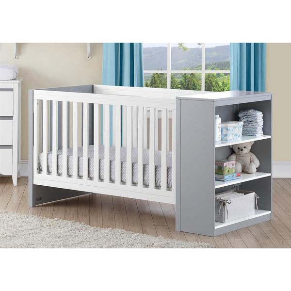 Baby Relax Ayla White and Grey 2-in-1 Convertible Crib with Storage