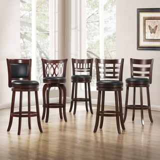 TRIBECCA HOME Verona Cherry Swivel 29-inch Barstool in Solid Back (As Is Item)