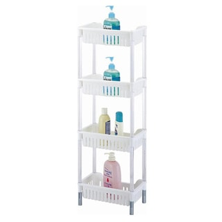White Plastic 4-tiered Storage Basket Shelves