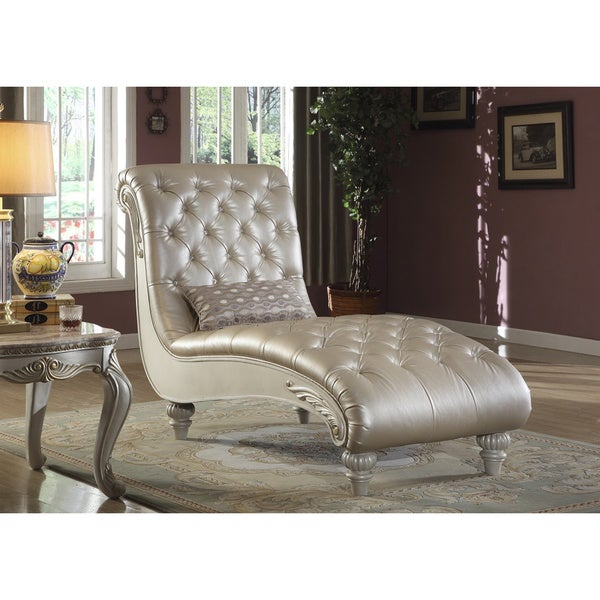 Meridian Marquee Pearl White Crystal Tufted Chaise Lounge