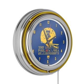 VAF Philadelphia Bell Chrome Double Ring Neon Clock
