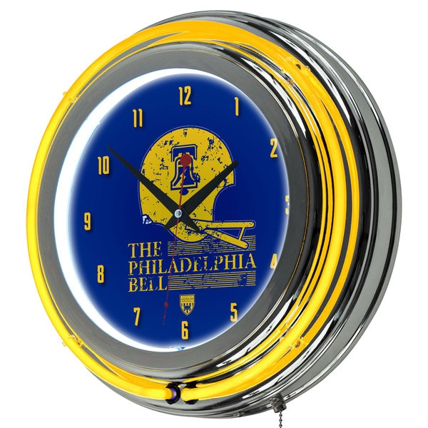 VAF Philadelphia Bell Chrome Double Ring Neon Clock