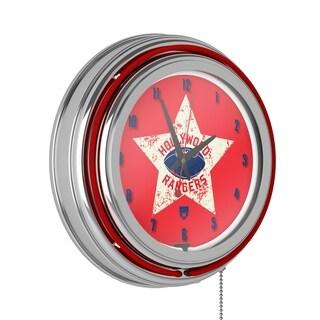 VAF Hollywood Rangers Chrome Double Ring Neon Clock