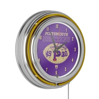 VAF Portsmouth Spartans Chrome Double Ring Neon Clock