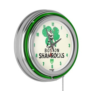 VAF Boston Shamrocks Chrome Double Ring Neon Clock
