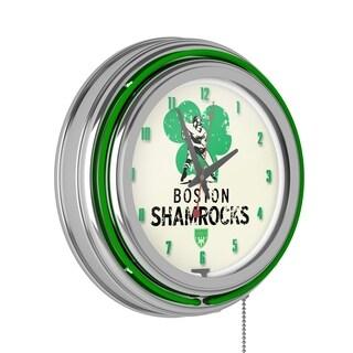 VAF Boston Shamrocks Chrome Double Ring Neon Clock