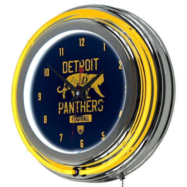 VAF Detroit Panthers Chrome Double Ring Neon Clock