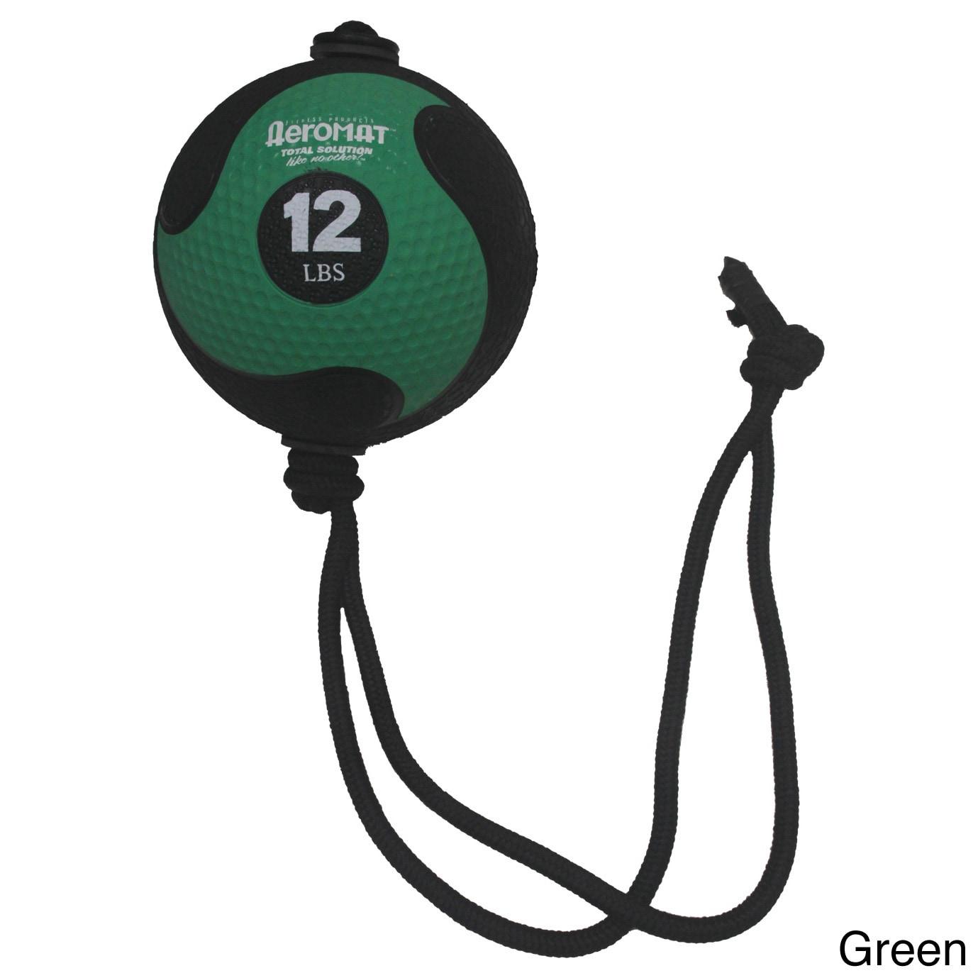Aeromat Elite Power Rope Medicine Ball (12 pound, Green), Size 12 lb