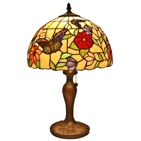 amora lighting tiffany style butterfly table lamp free shipping. Black Bedroom Furniture Sets. Home Design Ideas