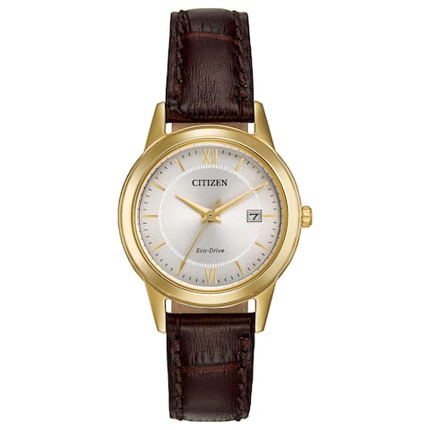 Citizen Women's FE1082-05A Eco-Drive Brown Leather Strap Watch