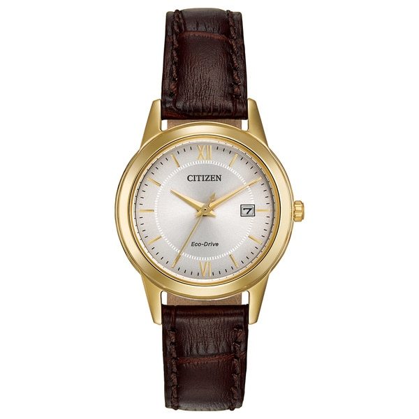 Citizen Women's Eco-Drive Brown Leather Strap Watch