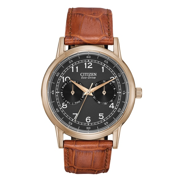 Shop Citizen Eco-Drive Gold-Tone Leather Mens Watch AO9003-08E - Free  Shipping Today - Overstock - 10649550 a6efbe51e097