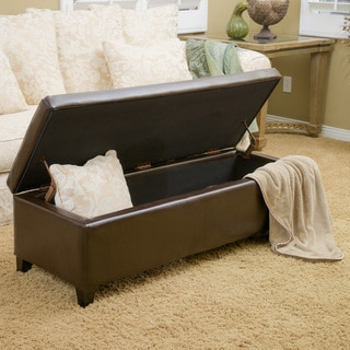 Selma Faux Leather Storage Ottoman Bench by Christopher Knight Home