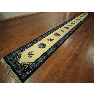 Runner Silky Chinese Soft Ivory-Blue Border Rug Hand-knotted Wool (3' x 22')