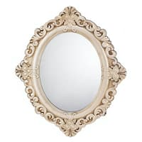 Antique-Style Oval Wall Mirror - Antique White
