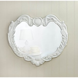 heartshaped white wall mirror