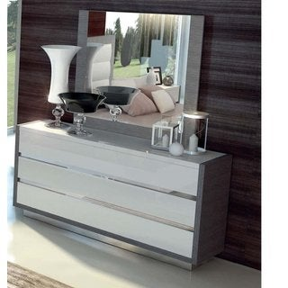 Luca Home White Dresser/ Mirror