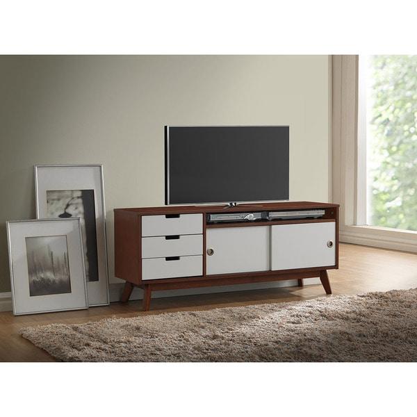 Baxton Studio Alphard Mid Century Dark Walnut And White Two Tone Finish Wood Tv