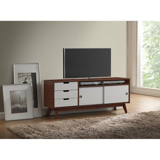 Baxton Studio Alphard Mid-century Dark Walnut and White Two-tone Finish Wood TV Cabinet