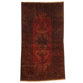 Herat Oriental Afghan Hand-knotted Tribal Balouchi Rust/ Navy Wool Rug (3'7 x 6'7)