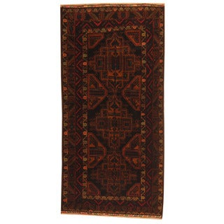Herat Oriental Afghan Hand-knotted Tribal Balouchi Navy/ Red Wool Rug (3'4 x 6'10)