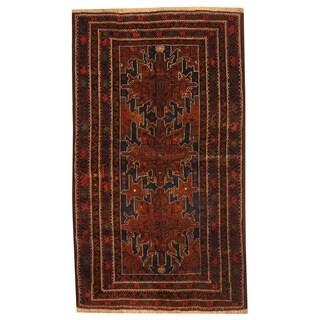 Herat Oriental Afghan Hand-knotted Tribal Balouchi Wool Rug (3'10 x 6'7)