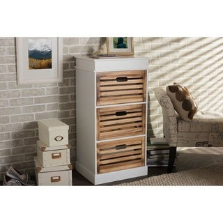 Baxton Studio Rochefort British Colonial White and Natural Finished 3-drawer Storage Cabinet