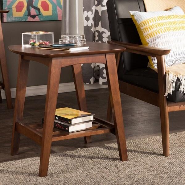 Sacramento Mid-century Modern Scandinavian Style Dark Walnut End Table