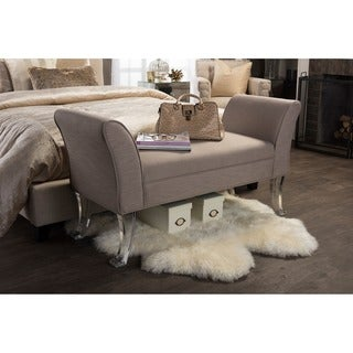 Baxton Studio Irwin Contemporary Beige Linen Upholstered Luxe Flared Arms Ottoman Bench with Flared Acrylic Legs