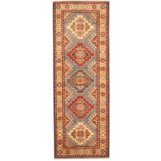 Herat Oriental Afghan Hand-knotted Tribal Kazak Blue/ Ivory Wool Runner (2' x 5'9)