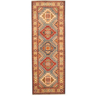 Herat Oriental Afghan Hand-knotted Tribal Kazak Wool Runner (2' x 5'9)