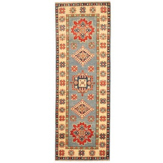 Herat Oriental Afghan Hand-knotted Tribal Kazak Blue/ Ivory Wool Runner (2' x 5'9)