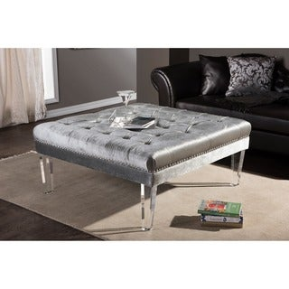 Baxton Studio Edna Contemporary Grey Microsuede Fabric Upholstered Luxe Tufted Square Ottoman Bench with Acrylic Legs