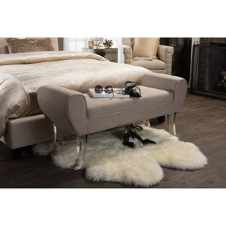 Baxton Studio Emerson Contemporary Beige Linen Upholstered Luxe Ottoman Bench with Flared Acrylic Legs